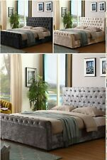 CRUSHED VELVET SLEIGH CHESTERFIELD DIAMANTE TUFTED OTTOMAN GAS LIFT STORAGE BED