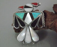 Large Vintage Zuni THUNDERBIRD Pin / Brooch Sterling Silver Multi-Color Inlay