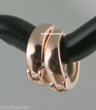 TINY 9mm Small Solid 14K Pink Rose Gold Huggies Hoop Earrings 0.88g GORGEOUS