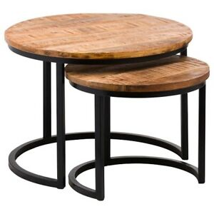 Set Of Two Industrial Wood Tables by Hill Interiors