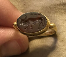 Authentic 20KT Solid Gold Roman Ring With Carnelian Intaglio Very Attractive