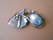 AVI SOFFER ISRAEL Massive Designer Brosche mit Blue Mabe Perle 925 Silber 16,8 g