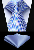 Party Wedding 3.4'' Woven Men Tie Check Plaid Necktie Handkerchief Set#TC616B8S