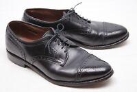 Allen Edmonds Sanford Mens Dress Shoes 9 D Black Leather Medallion Cap Toe