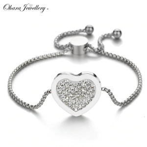 Adjustable Large Love Heart Cubic Zirconia CZ Silver Steel Bracelet Jewellery
