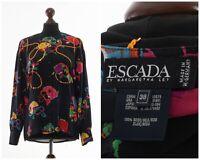 Womens ESCADA by MARGARETHA LEV Printed Silk Shirt Long Sleeve Black Size S 6 38