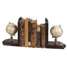 """Old World Globe Bookends 9.84"""" Wooden Unique Nautical Desk Top Bookcase Decor"""