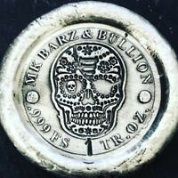 "1 Troy Oz .999 Fine Silver MK BarZ ""Day of the Dead"" Round"