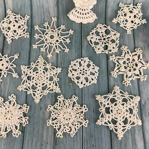 24 Vintage Hand Made White Crochet Snowflakes Christmas Tree Ornaments