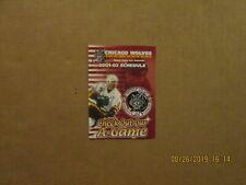 Ahl Chicago Wolves Vintage Circa 2001-02 Team Logo Hockey Pocket Schedule