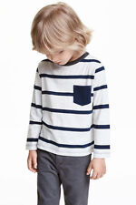 Boy's Girls Ex H&M RNeck Long Sleeve T Shirts in organic 100% cotton Stripe Tops