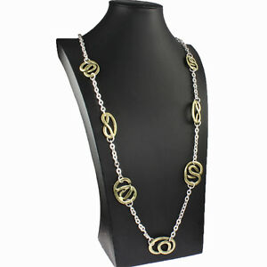 Antique brass and silver colour entwined link costume jewellery long necklace