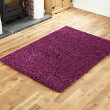 Extra Large 5cm Very Thick Pile Aubergine Purple Colour Shaggy Rug 200 X 290cm