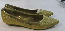 Gold Glitter Low Heel Slip On Pointy Toe Ballet Sexy Flats Size 6