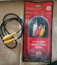 New listing Ge Audio /video Cable 6 Feet (1.8m) Black 23216 New In Pack + Bonus Video Cable!