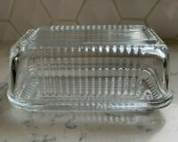 Vintage Pasabahce Clear Glass Ribbed  Refrigerator Butter Dish With Lid