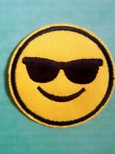 Embroidered Iron On  Patches / Sew On Patches / Emoji / Cool /Sunglasses Smiley