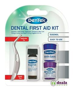 Dentek Dental First Aid Kit Tooth Saver Applicator Temparin Max Filling Repair
