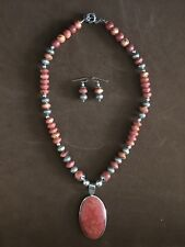 925 Sterling Silver Red Coral/Agate/Chain Necklace W Pendant Charm