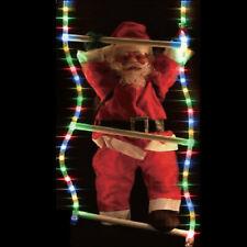 Solar LED Ropelight Ladder & 60cm Santa Outdoor Garden Christmas Light Display
