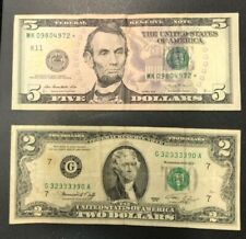 "2 notes, $7.00 total, Series 1976-$2, 2013-$5 ""Star"", with a FREE 1c set"