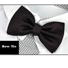 PAPILLON nero bello Check Marrone Design Tessuti Pre Legato Cravatta Da Uomo geometrica