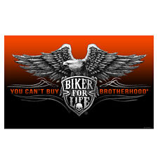Biker For Life 3X5' Flag You Can't Buy Brotherhood Eagle NEW