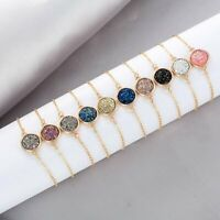 Women Cuff Geometric Round Crystal Bracelet Bangle Adjustable Chain Jewelry Gift