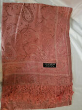 pink/salmon paisley 100% Pashmina scarf/shawl from Kusadasi, Turkey
