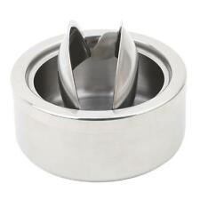 Round Stainless Steel Cigarette Lidded Ashtray Silver with Windproof Lid Cover J