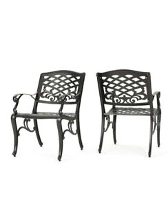 Noble House Sarasota Bronze Aluminum Outdoor Dining Chair (Set of 2)