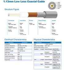1.13 mm mini 50 ohm coaxial cable cut per meter - USD 1.89 per 2 meters length