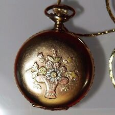 WALTHAM Hunter Pocket Watch Gold Filled 15 Jewels 20 Year Floral Embossed Shield