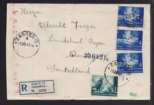 CROATIA 1942 REGISTERED (ZAGREB) CENSORED MAILED COVER TO GERMANY