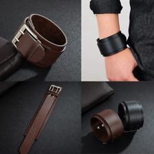 Wide Genuine Leather Punk Belt Wristband Bangle Cuff Stylish Bracelet Adjustable