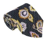 Missoni U1452  Black/Purple Chinoiserie 100% Silk Tie