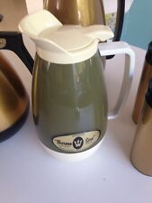 Vintage West Bend Thermo Serv Insulated Carafe green white w/ label 1950s 1960s
