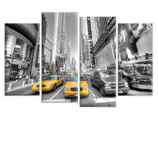 Large New York Taxi - Split Canvas Wall Art Pictures - 4 Panels