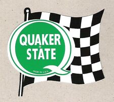Quaker State Oil Racing Flag Sticker, Vintage Sports Car Racing Decal