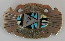 Vintage Zuni Native American sandcast sterling silver & gem inlay pin, brooch