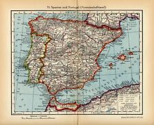 Antique map Spain and Portugal 1936 karte Spanien