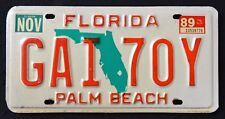 "FLORIDA "" GREEN MAP PALM BEACH - GAI 70Y "" 1989 FL Vintage Classic License Plate"