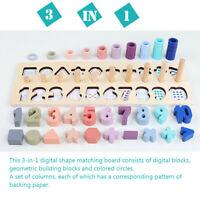 Montessori Toy Rainbow Ring Board Preschool Math Wooden Hand Eye Training OZ