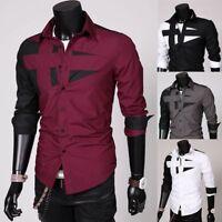 Men Luxury Long Sleeve Tee Blouse Casual Stylish Dress Shirt Splice Tops T-Shirt