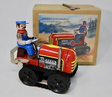 Vintage Style Repro Wind Up Tin Litho Tractor Farm Farmer Belt Retro Toy MS356