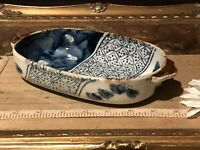 "Asian Porcelain Imari Oval Bowl w/Brown Handles 8 3/8""x4 3/4"" Marked"