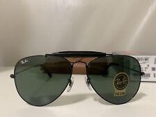 Ray-Ban RB3422Q 002 Aviator Black Frame Green Lenses 62mm Lens Sunglasses