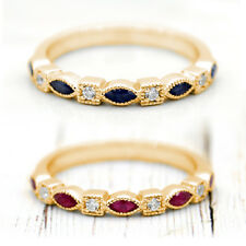 Natural Marquise Ruby Blue Sapphire Diamond Stackable Bands 14k Yellow Gold