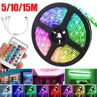 12V 30LED/M 5050 RGB LED Strip Light Flexible 5/10/15M Tape Kit+Remote Control
