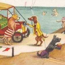 Postcard Anthropomorphic Dogs at Beach Schurmann Publisher